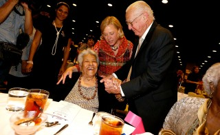 U.S. Senator Mary Landrieu (D-LA) greets Chef Leah Chase with her father and former New Orleans Mayor Moon Landrieu during a 'Women with Mary' campaign event on October 22, 2014 in New Orleans, Louisiana. Credit: Sean Gardner/Getty Images
