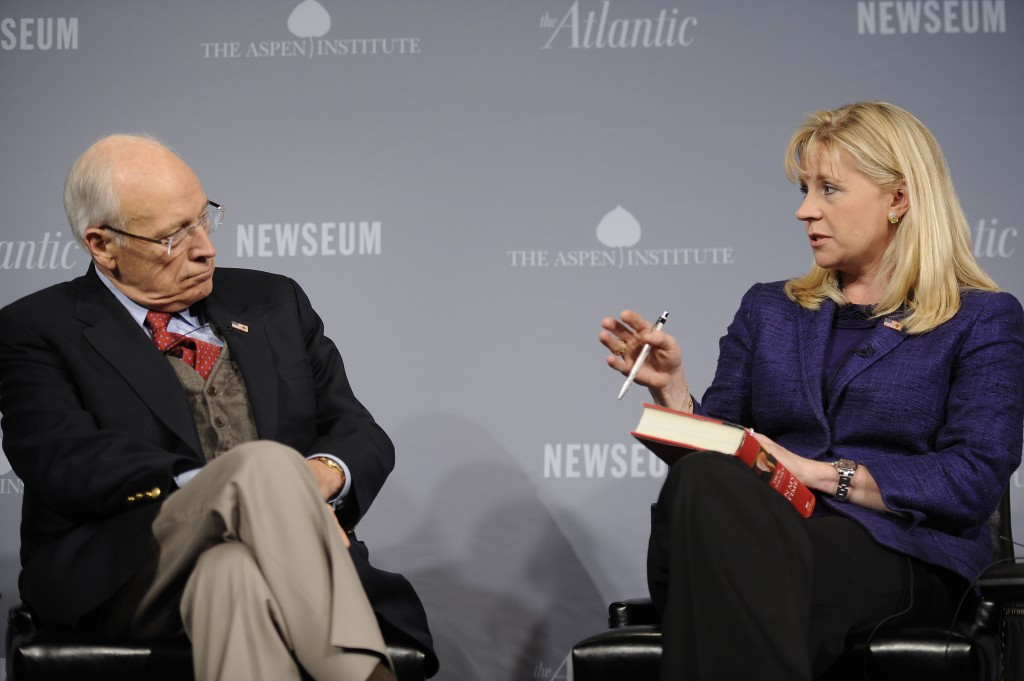 Former Vice President Dick Cheney speaks with Liz Cheney at the 2011 Washington Ideas Forum at The Newseum on October 6, 2011 in Washington, DC. Credit: Riccardo S. Savi/WireImage