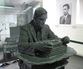 Sculpture of Alan Turing in slate at Bletchley Park. Photo from Wikimedia Commons, taken by Jon Callas