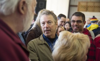 Sen. Rand Paul, R-Ky., greets people at an election rally for Sen. Mitch McConnell, R-Ky., at Bowman Field in Louisville, Kentucky on Nov. 3. Photo by Aaron P. Bernstein/Getty Images