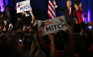 Senate Minority Leader Mitch McConnell (R-KY) celebrates his victory over Democratic challenger Alison Lundergan Grimes in Louisville, Kentucky. McConnell is slated to become the majority leader after a strong GOP   showing Tuesday. Photo by Luke Sharrett for Bloomberg
