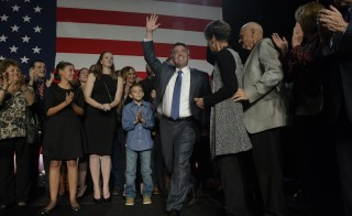 Cory Gardner, with his wife Jamie, takes the stage to make an acceptance speech after winning the U.S. Senate seat in Denver, Colorado, on Nov. 4. Photo By Craig F. Walker/The Denver Post