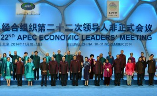 "Leaders pose for the Asia-Pacific Economic Cooperation (APEC) ""family photo"" at the Beijing National Aquatics Center in the Chinese capital on Nov. 10. President Barack Obama is front and fifth from the right. Photo by Mandel Ngan/AFP/Getty Images"