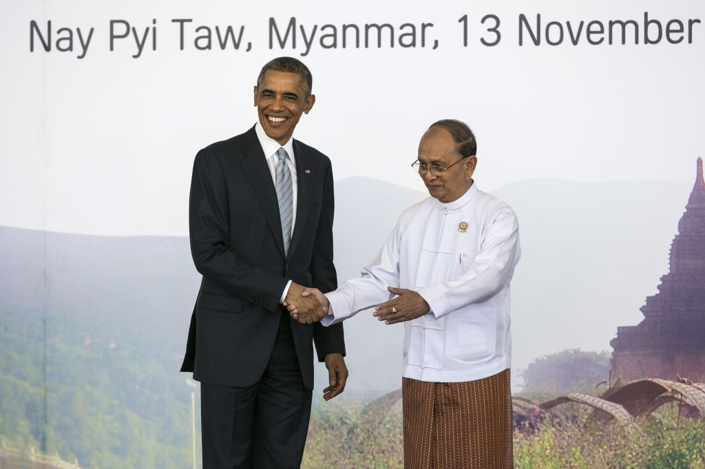 President Barack Obama shakes hands with Myanmar President U Thein Sein on the second day of the ASEAN summit on November 13, 2014 in Naypyidaw, Myanmar. The capitol of Naypidaw is hosting the 25th Association of Southeast Asian Nations (ASEAN) summit as world leaders including Obama, Thai Premier Gen. Prayuth Chan-Ocha, Indonesian President Joko Widodo and Indian Premier Narendra Modi will be in attendance. Photo by Paula Bronstein/Getty Images