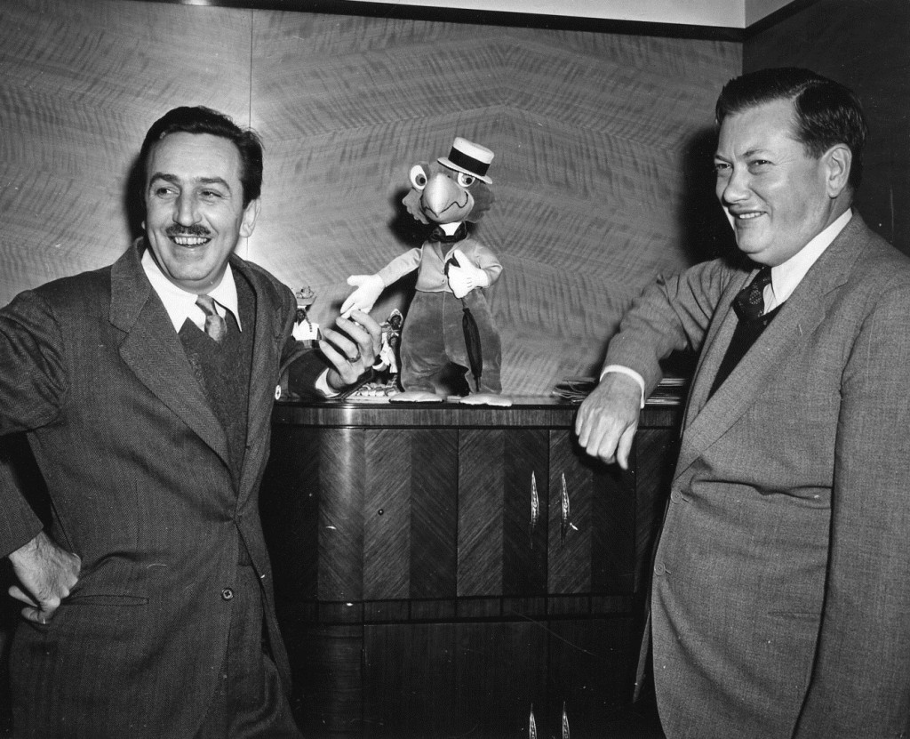 "Ralph Peer with Walt Disney and José Carioca from the Disney animated movie ""Saludos Amigos."" Photo courtesy of the Peer family archives"