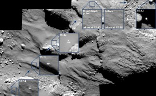Rosetta's OSIRIS camera captured Philae's bumpy landing on Comet 67P. Over half an hour, the camera snapped photos of the lander drifting over the surface, bouncing and drifting away. Photo courtesy: ESA/Rosetta/MPS for OSIRIS Team MPS/UPD/LAM/IAA/SSO/INTA/UPM/DASP/IDA