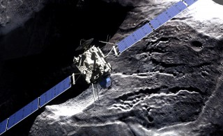The Rosetta spacecraft and Comet 67P/Churyumov-Gerasimenko. Illustration by DLR German Aerospace Center