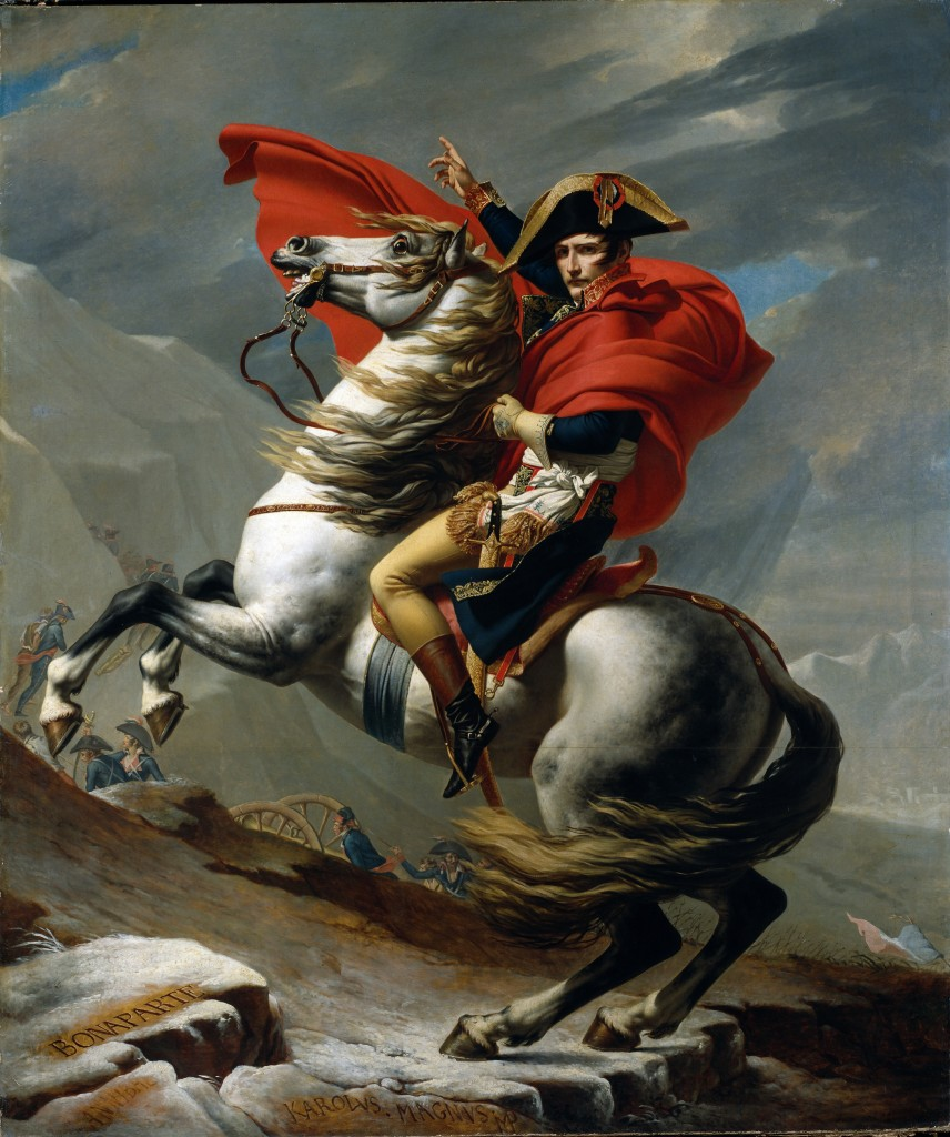 "Napoleon's battlefield style was depicted in the painting ""Napoleon Crossing the Alps"" by Jacques Louis David painting from 1801. (Credit: Getty Images"