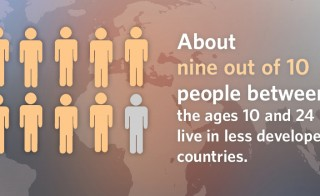 About nine out of 10 of global youth live in less developed nations, according to a new report released from the United Nations Population Fund Monday. Graphic by United Nations Population Fund