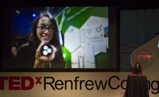 Canadian teen Ann Makosinski, who invented a hollow flashlight powered by heat generated from the human hand at age 15, gives a TED talk on her project. Photo by Flickr user TEDx RenfrewCollingwood