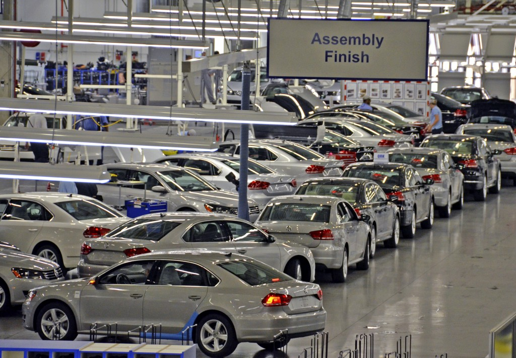 2012 Volkswagen Passats sit in the Assembly Building, at the Volkswagen Chattanooga plant in Chattanooga, Tennessee, U.S., on Wednesday, June 1, 2011. The plant which has an initial capacity of 125,000 units per year, will build the 2012 Volkswagen Passat for the U.S., Mexico and Canada. Photographer: Mark Elias/Bloomberg
