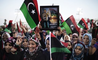 Amal Elderat was among those who celebrated in Libya after news of Moamer Kahdafi's capture and death in October 2011.