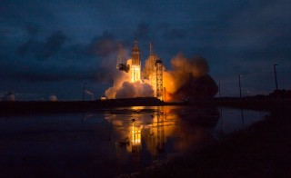 The United Launch Alliance Delta IV Heavy rocket with NASA's Orion spacecraft mounted atop, lifts off from Cape Canaveral Air Force Station's Space Launch Complex 37 at at 7:05 a.m. EST, Friday, Dec. 5, 2014, in Florida. Photo by Bill Ingalls/NASA