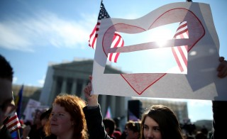 Justices heard arguments about same-sex marriage today in the Supreme Court. Photo by Mark Wilson/Getty Images