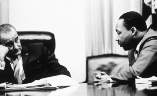 President Lyndon B Johnson discusses the Voting Rights Act with civil rights leader Martin Luther King Jr. 1965 archive photo by  Hulton Archive/Getty Images