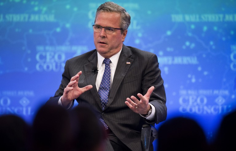 Former Florida Governor Jeb Bush speaks during the Wall Street Journal CEO Council in Washington, DC, Dec. 1, 2014. Photo by Jim Watson/AFP/Getty Images