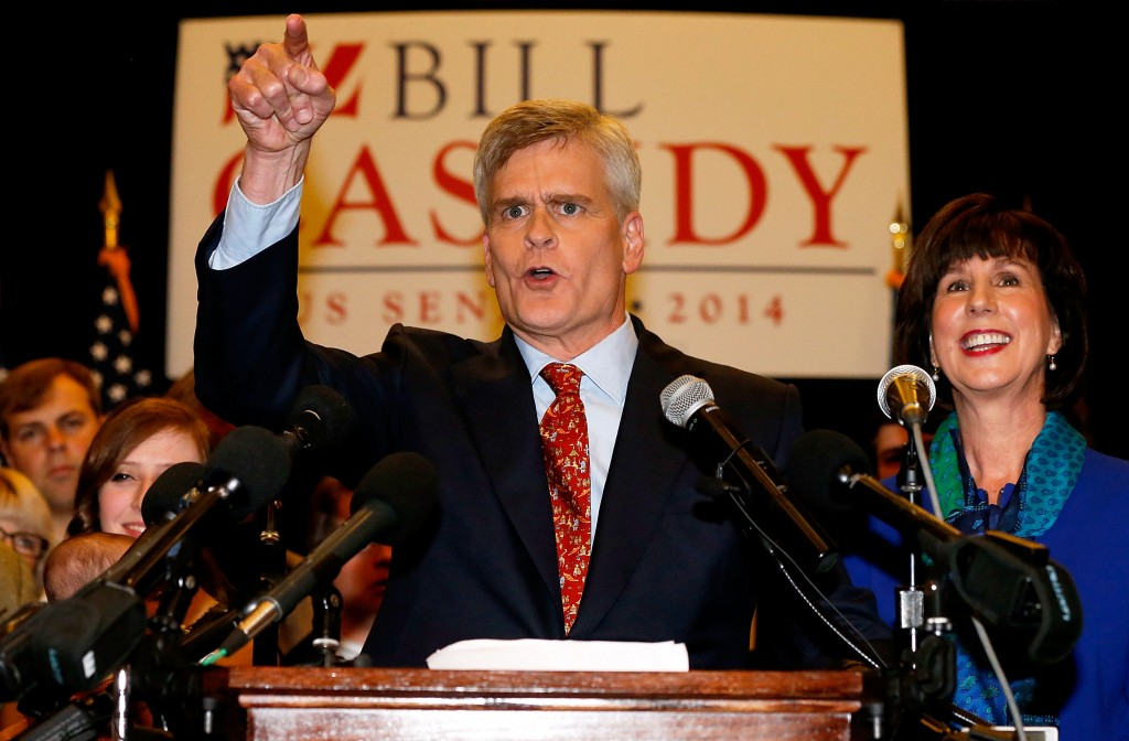 Senator elect Bill Cassidy celebrates with supporters after defeating Senator Mary Landrieu on Saturday in Baton Rouge, Louisiana. Photo by Sean Gardner/Getty Images