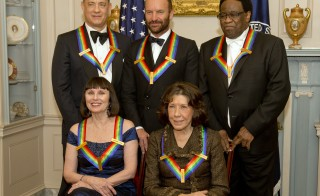 Caption:WASHINGTON, DC - DECEMBER 06: The five recipients of the 2014 Kennedy Center Honors pose for a group photo following a dinner hosted by United States Secretary of State John F. Kerry from left to right top row: actor and filmmaker Tom Hanks, singer-songwriter Sting, singer Al Green, from left to right bottom row: ballerina Patricia McBride and comedienne Lily Tomlin at the U.S. Department of State on December 6, 2014 in Washington, D.C. Photo by Ron Sachs-Pool/Getty Images