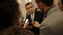 U.S. Sen. Ted Cruz (R-TX) speaks with reporters after the U.S. Senate voted to approve a $1.1 trillion omnibus funding bill December 13, 2014 in Washington, DC. Despite Cruz�s efforts to delay the vote due to objections with U.S. President Barack Obama�s immigration orders, the Senate approved the funding and will avoid a government shutdown. (Photo by Win McNamee/Getty Images)