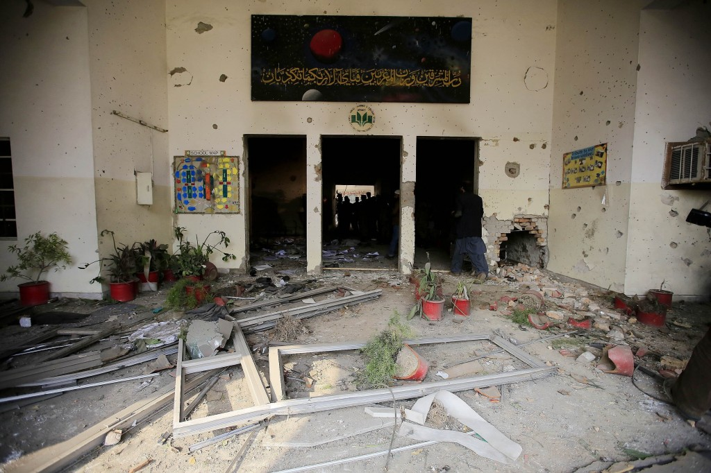 A view of the debris of the army-run school that was attacked by Taliban militants on Dec. 16 in Peshawar, Pakistan. Photo by Metin Aktas/Anadolu Agency/Getty Images