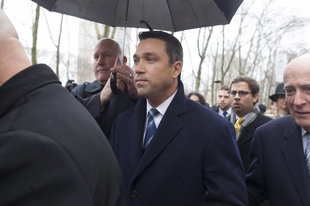 Rep. Michael Grimm, R-N.Y., leaves U.S. District Court in Brooklyn, New York, on Dec. 23. Grimm pleaded guilty to one count of felony tax fraud. Photo by Michael Graae/Getty Images