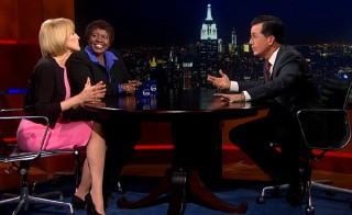 "Stephen Colbert hosted PBS NewsHour co-anchors and ""pushy broads"" Judy Woodruff and Gwen Ifill on ""The Colbert Report"" in October 2013."