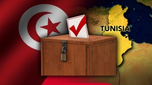 FLEDGLING DEMOCRACY  Tunisia  ballot box and flag  monitor