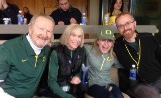 David, Lynn, Amy and Mark Frohnmayer are avid University of Oregon fans. David and Lynn founded the Fanconi Anemia Research Fund in 1989 after their three daughters, including Amy, were diagnosed with the rare, life-threatening disease. Photo from fanconi.org