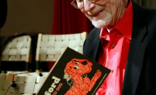 Norman Bridwell reads from a copy of the first Clifford the Big Red Dog book he wrote in 1963.