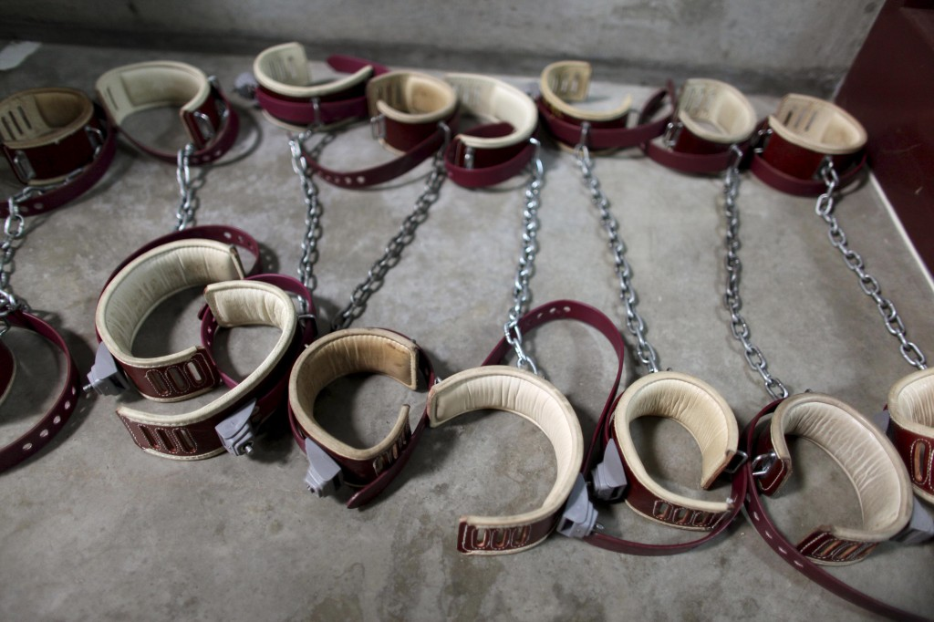 Leg shackles are seen on the floor at Camp 6 detention center, at the U.S. Naval Base, in Guantanamo Bay. Photo by Brennan Linsley/Reuters