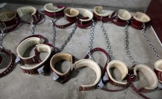Leg shackles are seen on the floor at Camp 6 detention center, at the U.S. Naval Base, in Guantanamo Bay