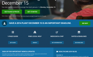 The homepage at Healthcare.gov warns visitors that they must sign up by December 15 for 2015 coverage.