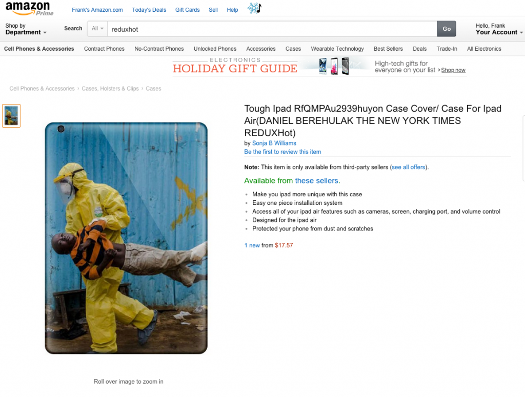 Amazon screen shot shows an iPad case featuring a stolen image from Daniel Berehulak of a boy being treated by Ebola doctors.