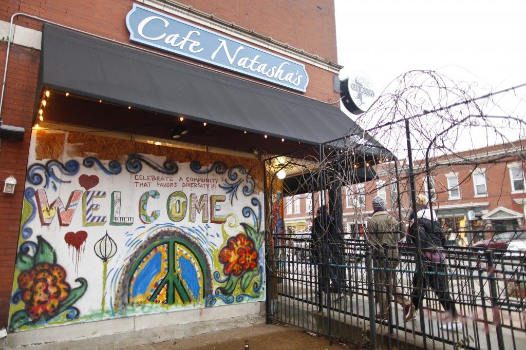 Artists converged at Cafe Natasha's in St. Louis after it experienced damage during protests. Photo by Miriam Ross-Hirsch