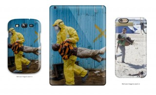 Phone cases featuring stolen images for sale on Amazon.