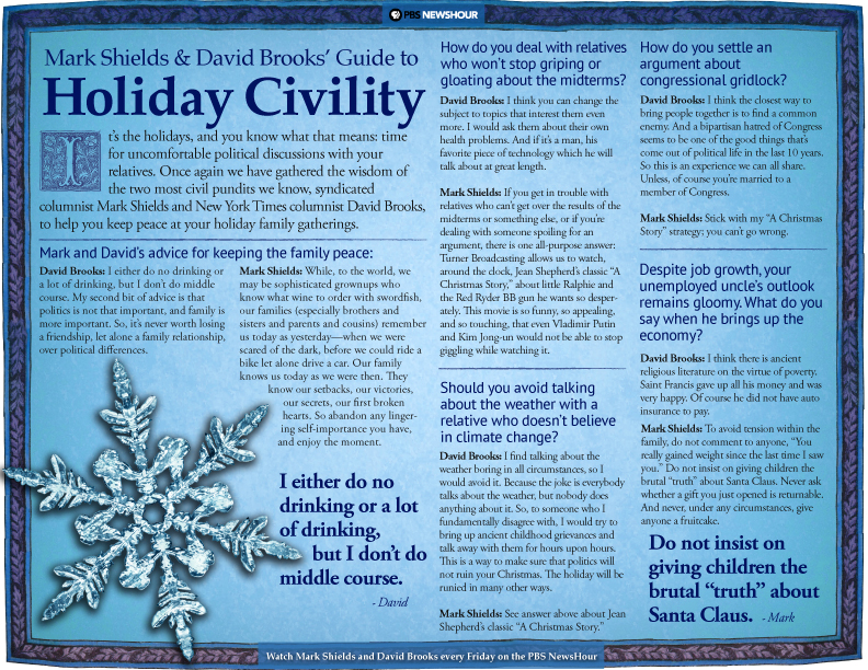 Mark Shields and David Brooks guide to Holiday Civility