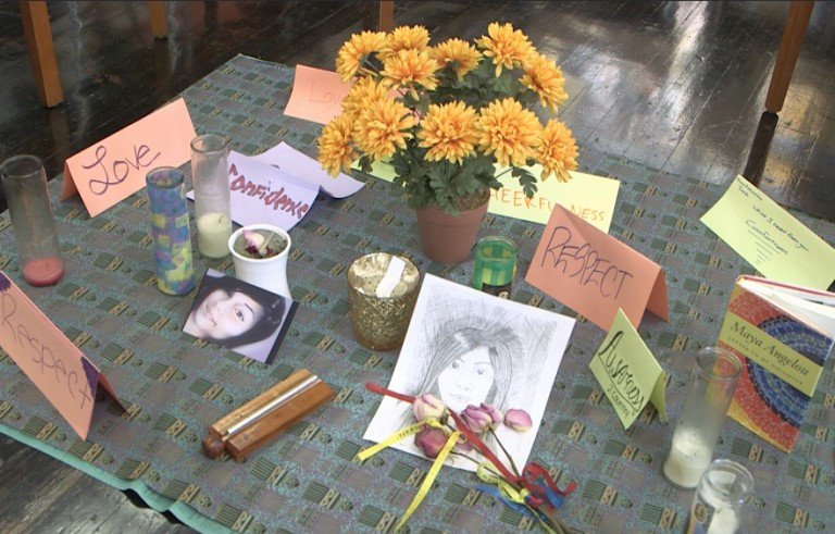 A memorial at the Emiliano Zapata Street Academy in Oakland, California, to student Samantha Alvarado, 15, a victim of gun violence who died in June 2014. Photo by Mike Fritz/PBS NewsHour