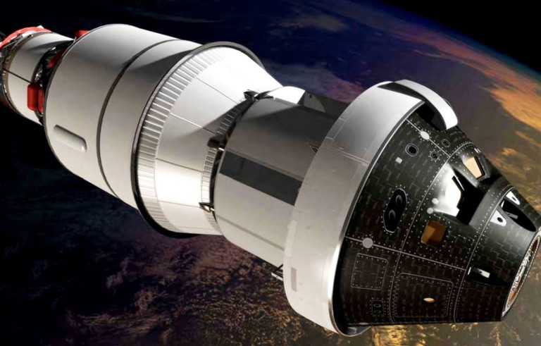 An artist's impression of the first Orion spacecraft in orbit attached to a Delta IV Upper Stage during Exploration Flight Test-1. Scheduled for its first test flight on December 4, Orion is designed to carry astronauts into deep space, sustaining them through long difficult journeys. More importantly, it's designed to get them back home again safely. In the future, Orion will be carried into space on the Space Launch System (SLS) rocket, which will drive the capsule to asteroids and potentially Mars. Image Credit: NASA