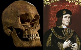 Side by side view of skull found in parking lot believed to be King Richard III of England. Image from the University of Leicester, portrait in National Portrait Gallery, London.