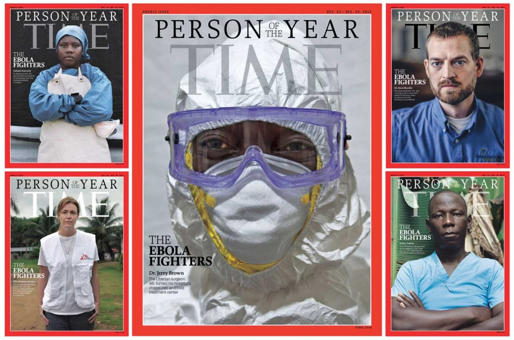 TIME's magazine covers for their 2014 Person of the Year depict those who have been fighting Ebola.