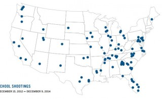 A map of school shootings from Dec. 2012 to Dec. 2014, courtesy of Evertown for Gun Safety.
