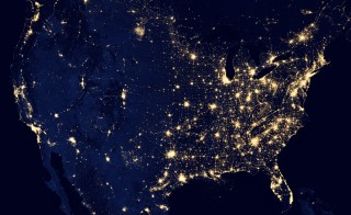 This image of the United States of America at night is a composite assembled from data acquired by the Suomi NPP satellite in April and October 2012. Image courtesy of NASA Earth Observatory/NOAA NGDC