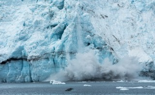 A small amount of calving on Margerie Glacier in Glacier Bay National Park, Alaska. Photo by Flickr user Mark Byzewski