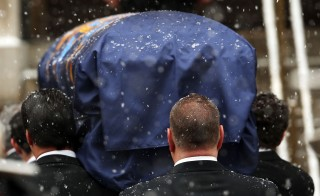 The casket of former New York Gov. Mario Cuomo arrives at St. Ignatius Loyola Church in New York City on Jan. 6. Photo by Spencer Platt/Getty Images