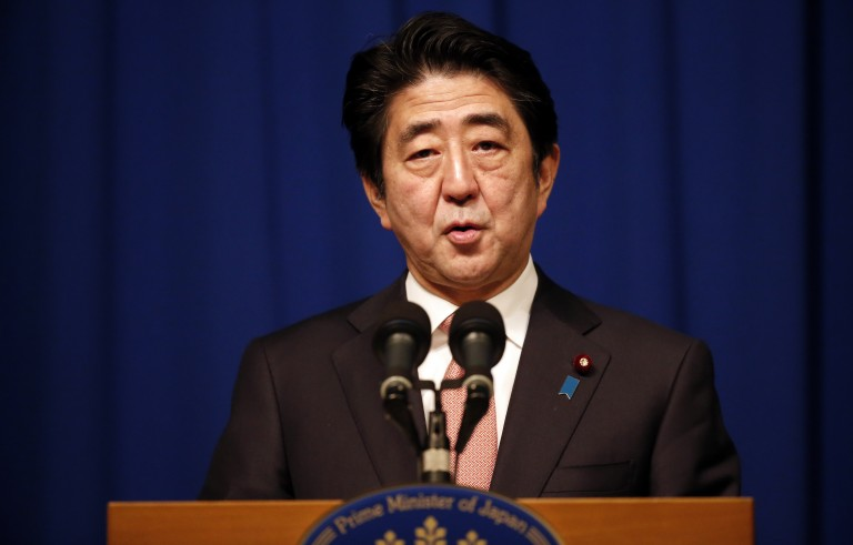 Japanese Prime Minister Shinzo Abe speaks during a press conference at a hotel in Jerusalem on Jan. 20 about the demand from the Islamic State militant group to receive $200 million in exchange for two Japanese prisoners. Photo by Thomas Coex/AFP/Getty Images