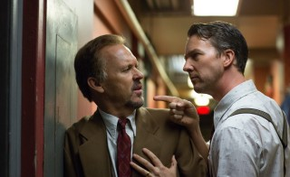 "Michael Keaton as ""Riggan"" and Edward Norton as ""Mike"" in ""Birdman."" Photo by Alison Rosa, Twentieth Century Fox."