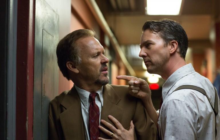 "Michael Keaton as ""Riggan"" and Edward Norton as ""Mike"" in ""Birdman."" Photo by Alison Rosa, Twentieth Century Fox."