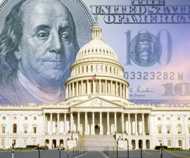 Digital composite, US Capitol with one hundred dollar bill, Image by Travel Images/UIG via Getty Images.