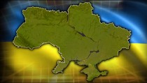 FRON LINES   Ukraine russia flags with ukraine map monitor