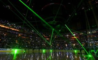 Jun 4, 2014; Los Angeles, CA, USA; A general view of a pre-game light and laser show before game one of the 2014 Stanley Cup Final between the Los Angeles Kings and New York Rangers at Staples Center. Photo by Kirby Lee, USA TODAY Sports via Reuters